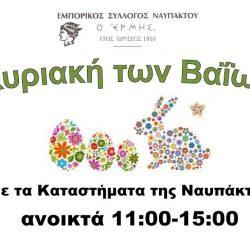 Εμπορικός Σύλλογος: Κυριακή των Βαΐων ελάτε στα καταστήματα της Ναυπάκτου